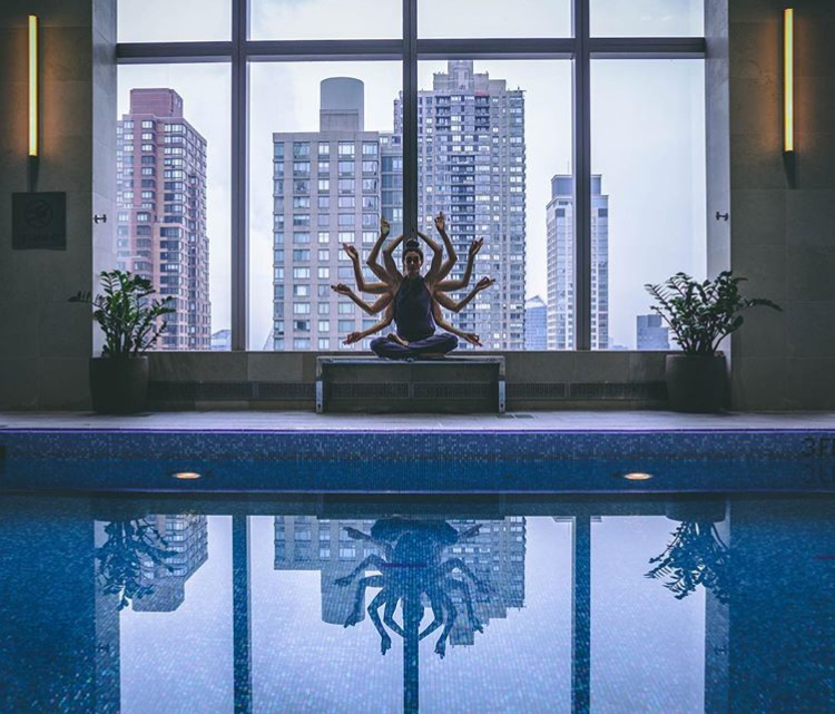 Lindsey enjoys some poolside yoga at Mandarin Oriental New York's fitness facility and lap pool. (Photo c/o Lindsey Calla, 2018)