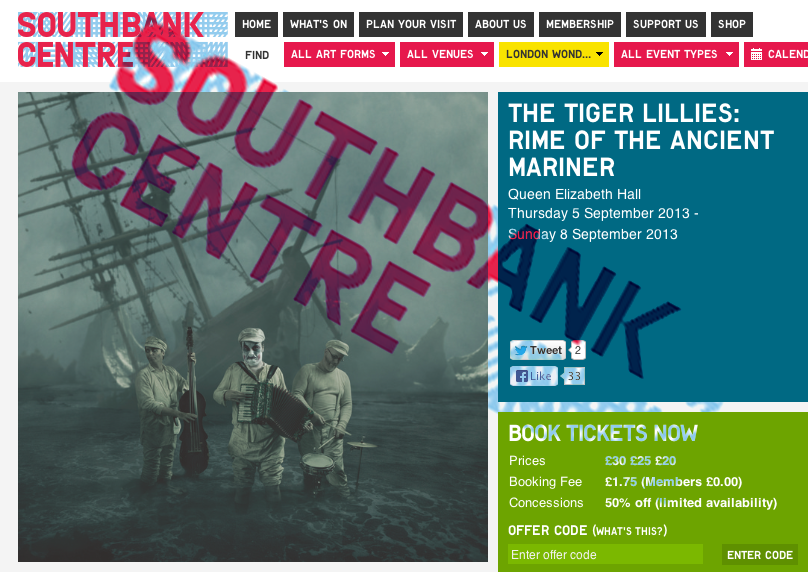 Rime of the Ancient Mariner will be coming to London in September, It will be a honor to have the show at the prestigious Southbank Center.   Shows are September 5th thru the 8th.      Book your tickets now at this link.