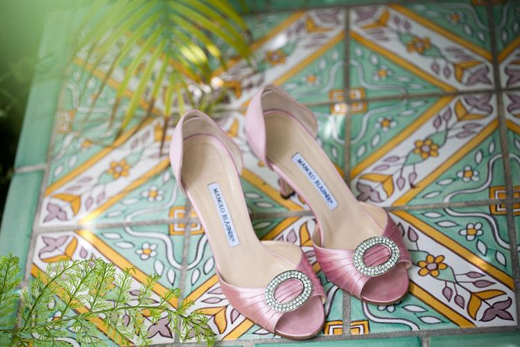 Pink Monolo Blahnik wedding heels