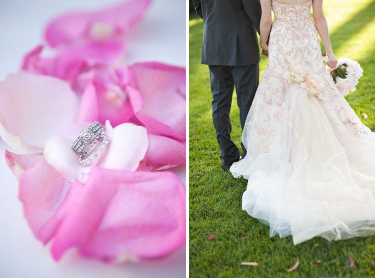 Pink wedding details.
