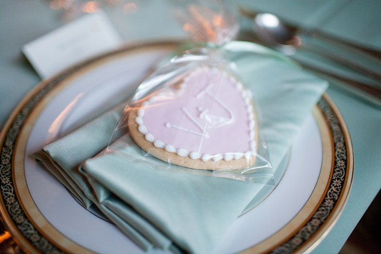 Pink monogram wedding cookies