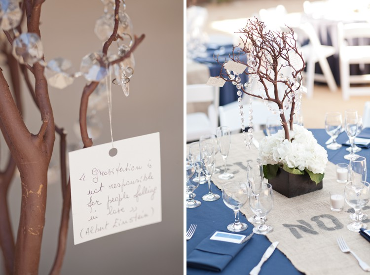 manzanita branch and hydrangea wedding centerpieces