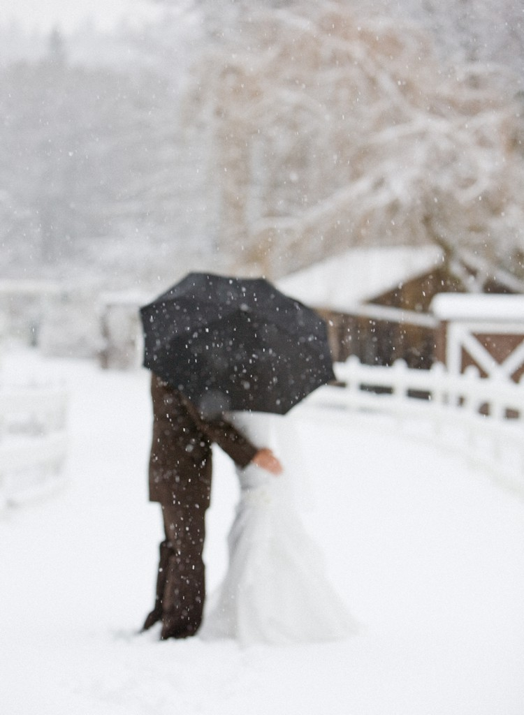 Bride and groom in the snow on their wedding day.