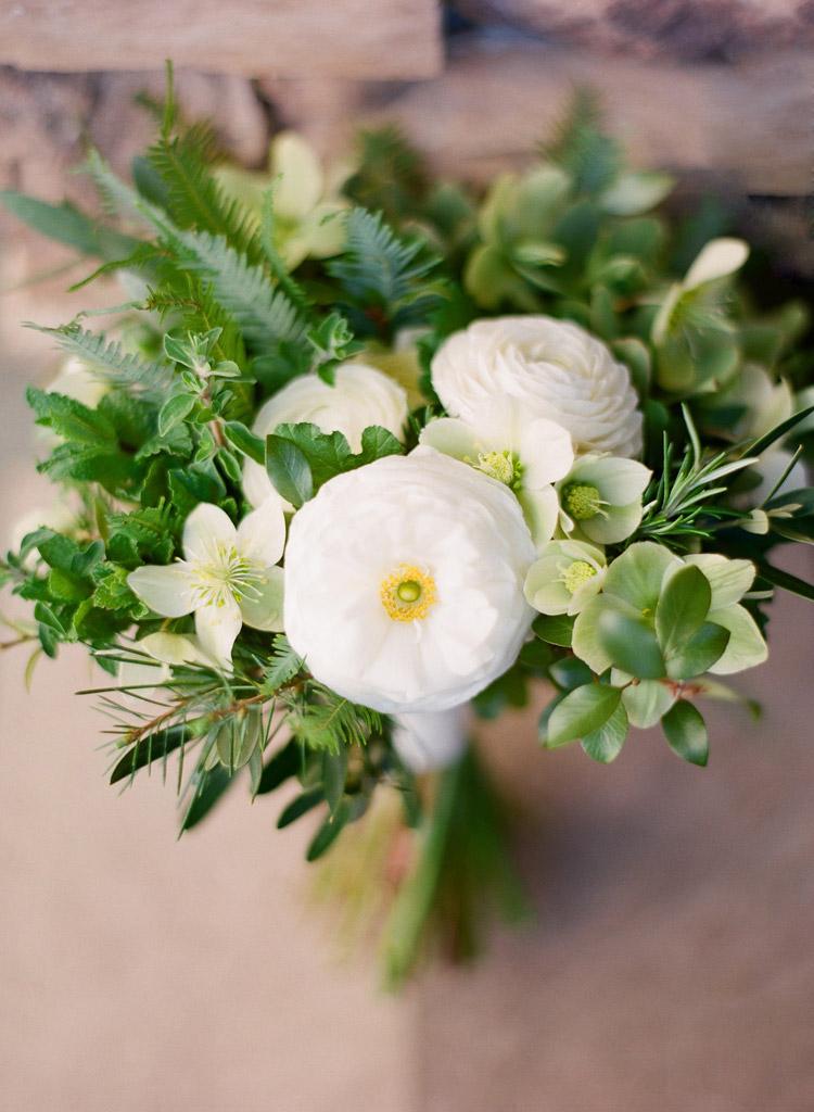 A rustic wedding bouquet by Lidia Sadoun of La Fleuriste in San Francisco.