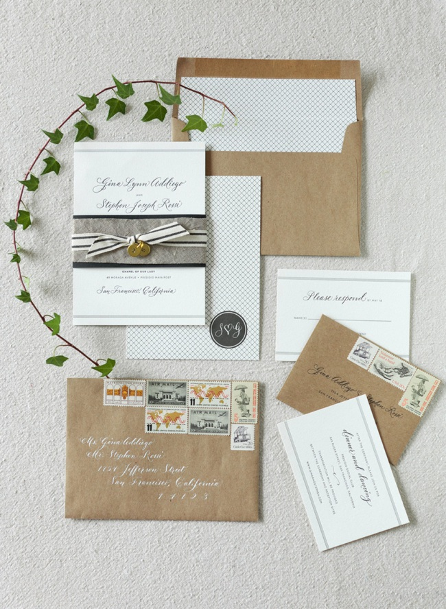Custom wedding invitations by Little Miss Press