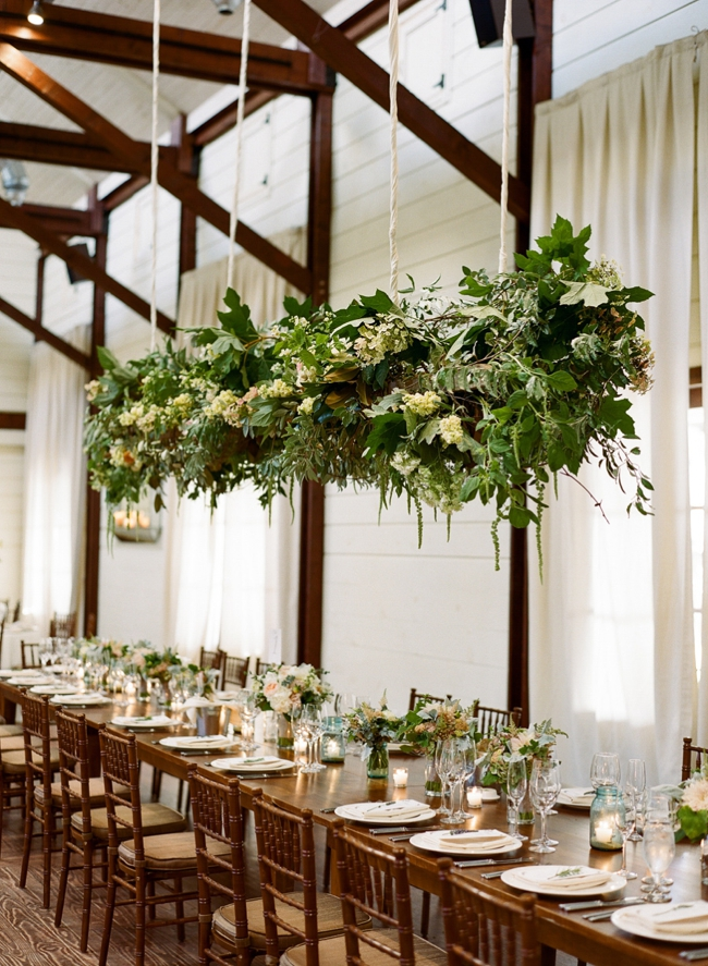wedding hanging floral chandelier by Southern Blooms
