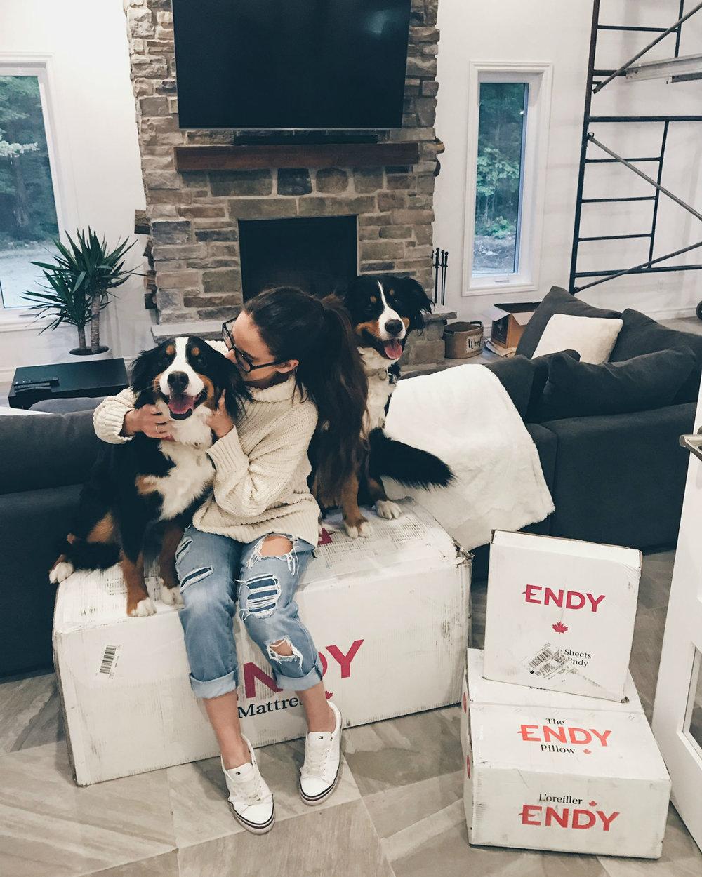 "Kim Demers (@kim_demers) - Demers is a vlogger on YouTube from Montreal. Along with her great content, her three dogs, Zara, Zoey and Zachary, are showstoppers.""Tellement heureuse d'avoir ENFIN reçu mon lit king @endy. Moi qui avait des problèmes de sommeil dernièrement, je vous confirme que je dort comme un bébé maintenant 👶🏻 #gifted #endypartner"""