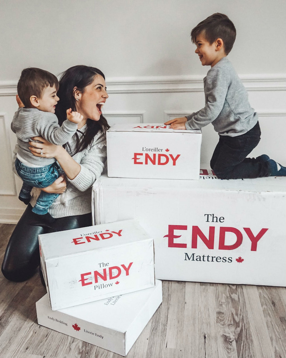 """Vanessa Giuliani (@mommunity_) - Giuliani runs Mommunity, a community organization based in Toronto that brings together """"Mompreneurs"""" to showcase their products.""""Literally my reaction when I received my @endy sleep set last week. Why?1. I've been craving deep sleep since I had Gabriel in 2015. By the time he was finally sleeping through the night, Lucas was born and I was up nursing him through the night. #sleeplessfor3years2. This was literally On my list of dream brands to work with #goals3. Endy is Canadian-made from a Canadian Company #supportlocal4. Sleep. Like really, really, realllllly good sleep. """""""