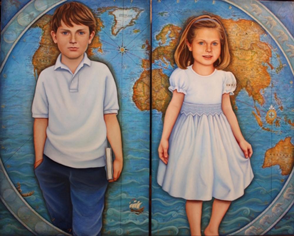 """Map Portrait Mixed media 50"""" x 86"""""""