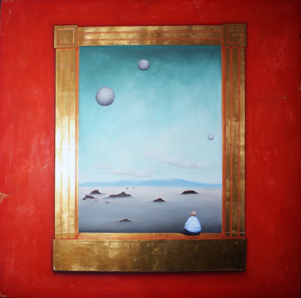 "Jupiter Person Oil and gold leaf on canvas 36""x 36"""
