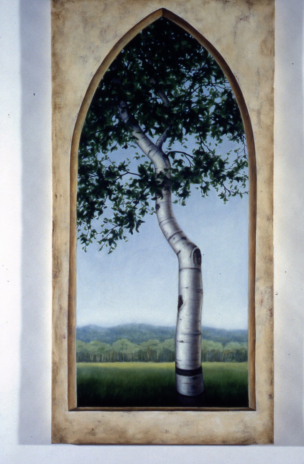 "Birch 1 Oil on linen 50"" x 25"""