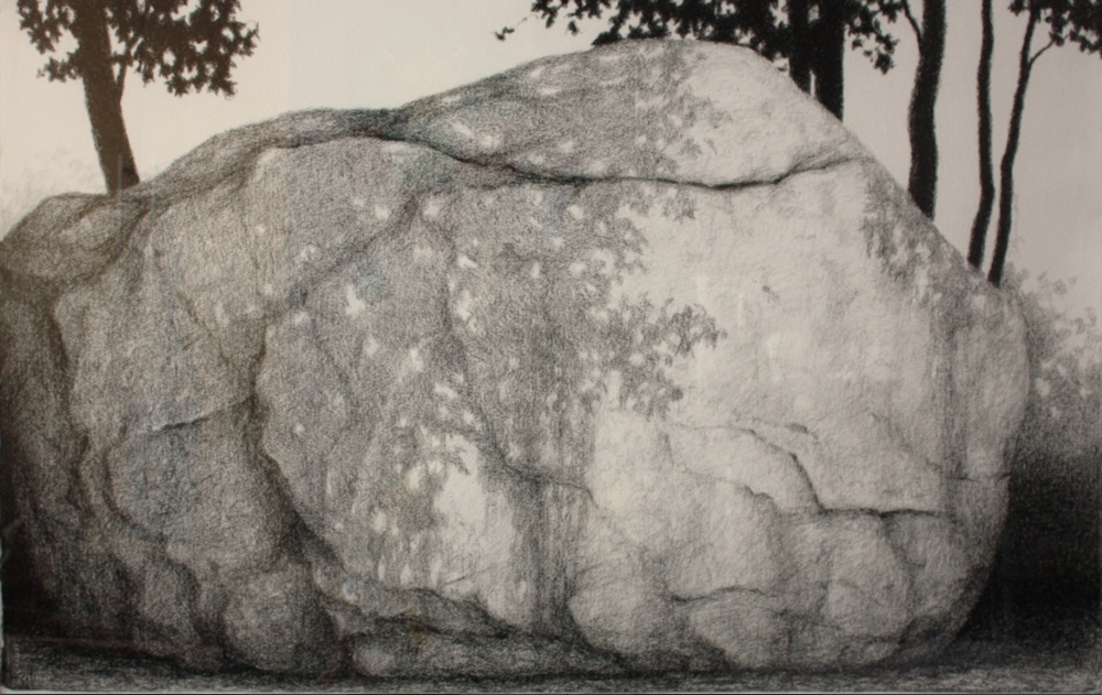 "Squam Rock Graphite & Conte on Paper, 20""x26"""