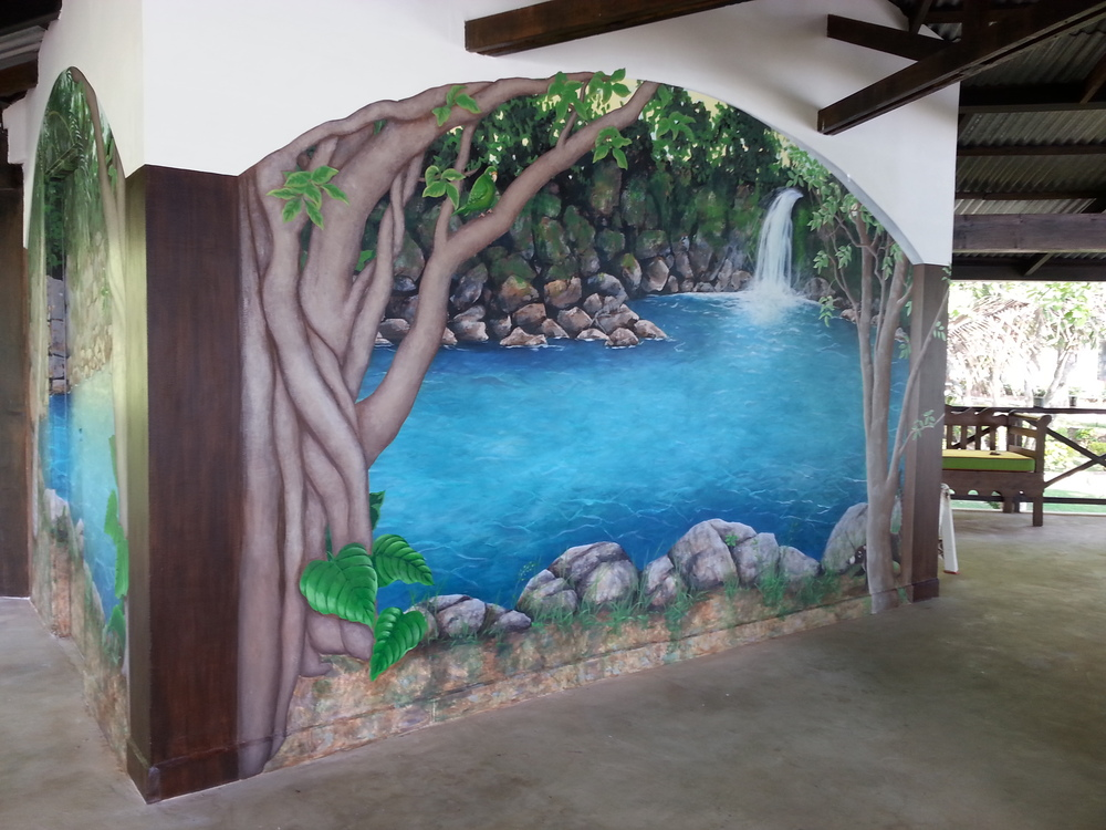 Sugar Beach Mural Acrylic, 3 walls, 14' x 16'  view video →