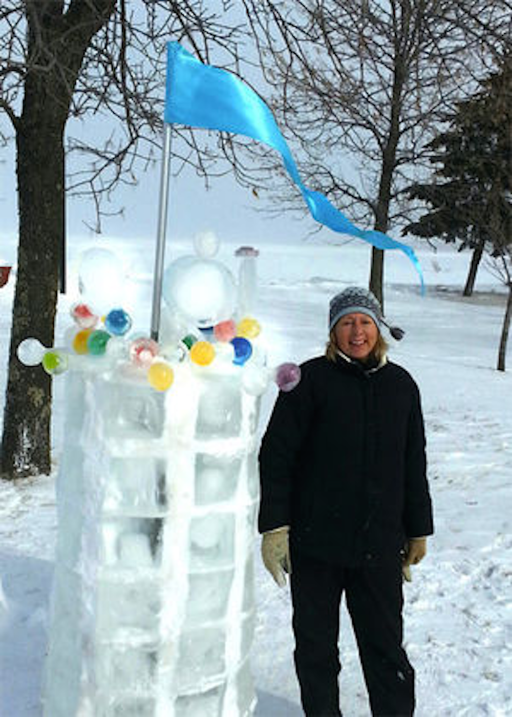 Tower  (Zoom Out Moves Text)  Ice Sculpture for Book Across the Bay Ashland, Wisconsin, Feb 2015