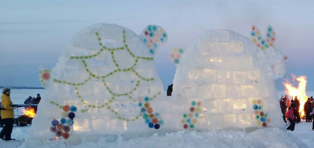 The Tortoise & The Hare Ice Sculpture for Book Across the Bay Ashland, Wisconsin, Feb 2016