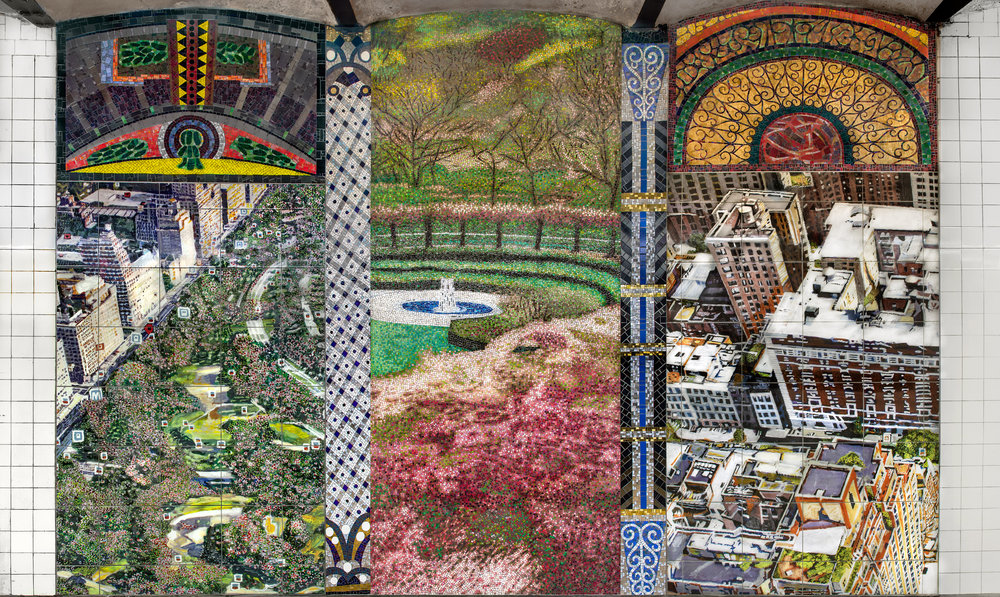 """Parkside Portals,"" 86th St. and Central Park West subway station, C and B lines, Lower Platform Center, 2018, Glass mosaic and ceramic tiles, 120 x 156"""