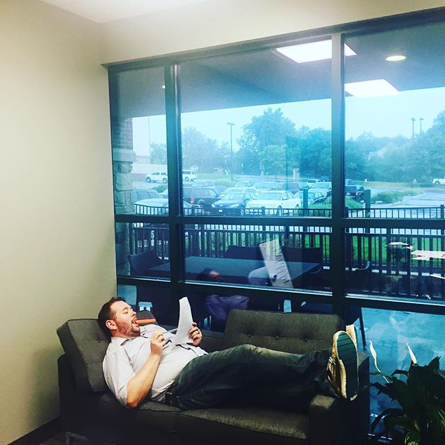 Rainy days call for the Work Couch!📉📃🖊. #bossman #lawyerlife #omaha #omahabizlaw #mcnamaralawfirm