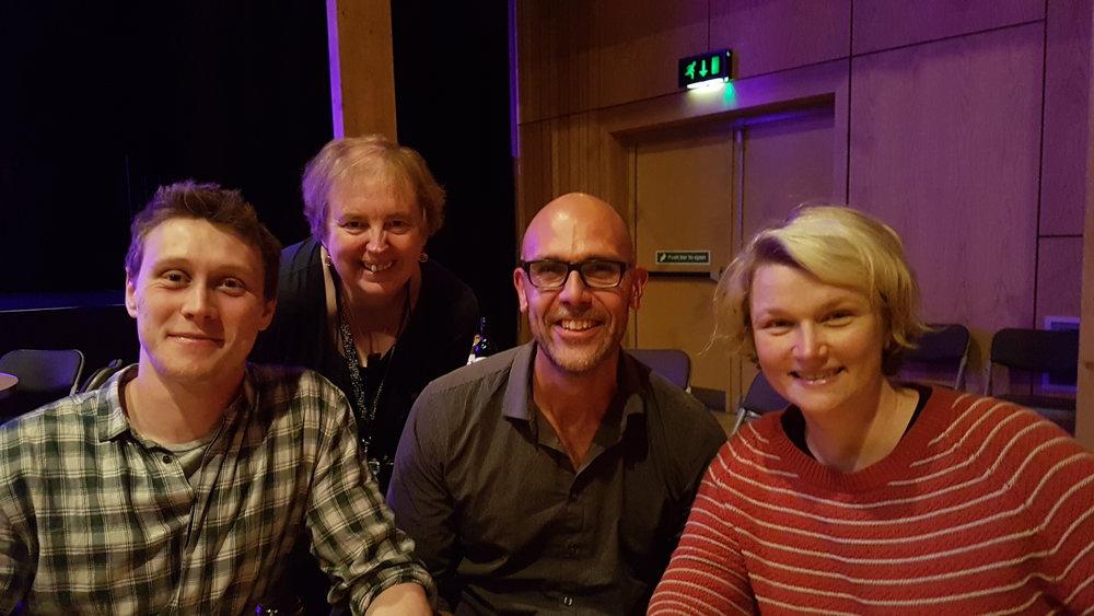 George Mackay, Kathy Hubbard, Dario and Hope Dickson Leach