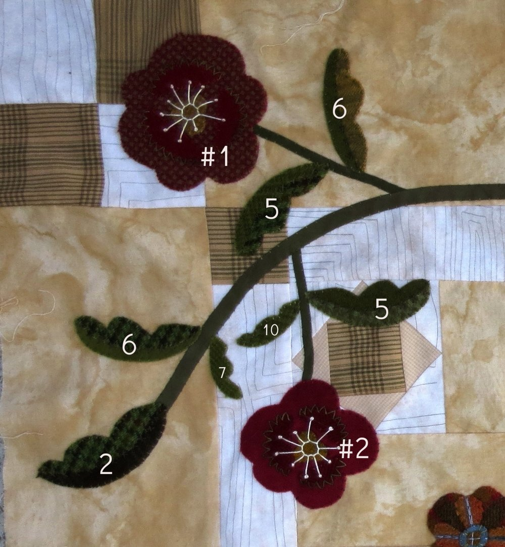 Layout of flowers and leaves on border vine