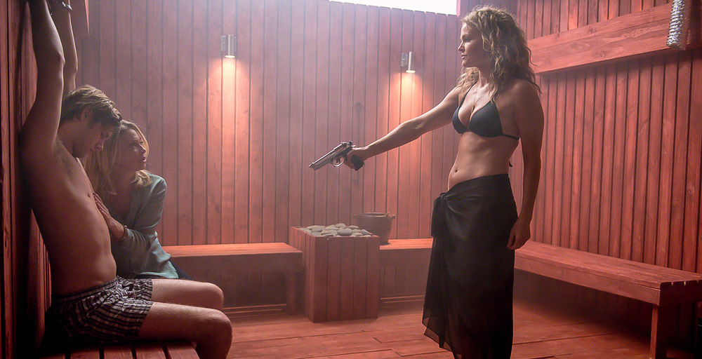 Dina Meyer with Amanda Detmer and Caleb Ruminer on Lethal Seduction