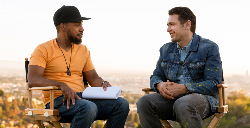 DJ Prince Paul interviews actor James Franco on the set of a Scion commercial