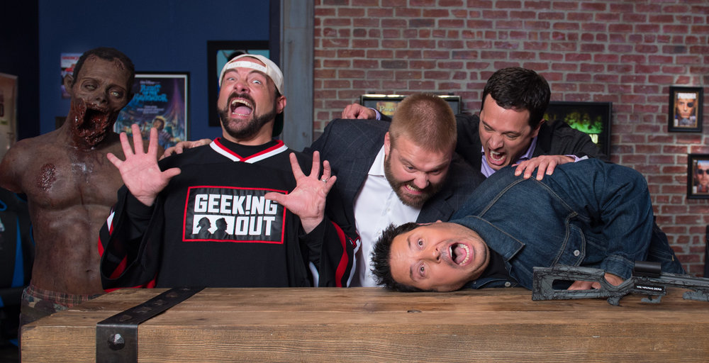 Geeking Out hosts Kevin Smith and Greg Grunberg with The Walking Dead producers Robert Kirkman and David Alpert