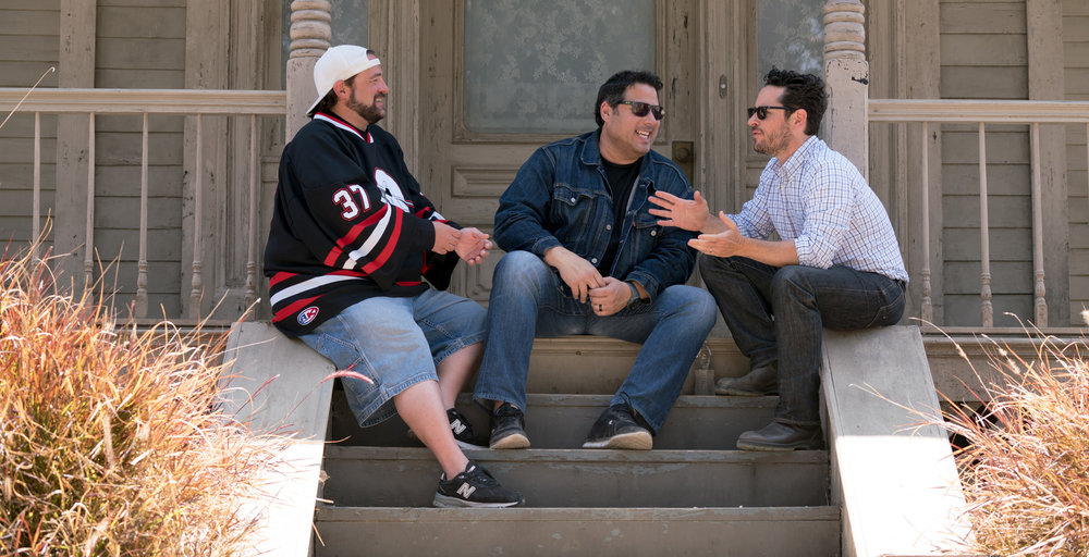 Kevin Smith, Greg Grunberg and J.J. Abrams at the Psycho House at Universal during a taping of Geeking Out.