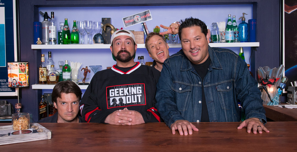 Geeking Out hosts Kevin Smith and Greg Grunberg with guests Nathan Fillion and Alan Tudyk