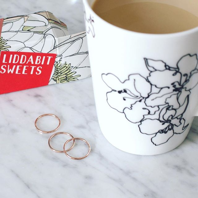 Fueling some rose gold  ring making... #coffee and #liddabitsweets @liddabitsweets