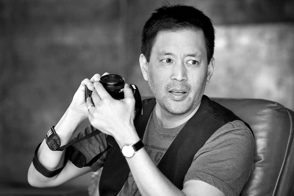 Art photographer Scott Takeda at a recent summer shoot in Downtown LA.