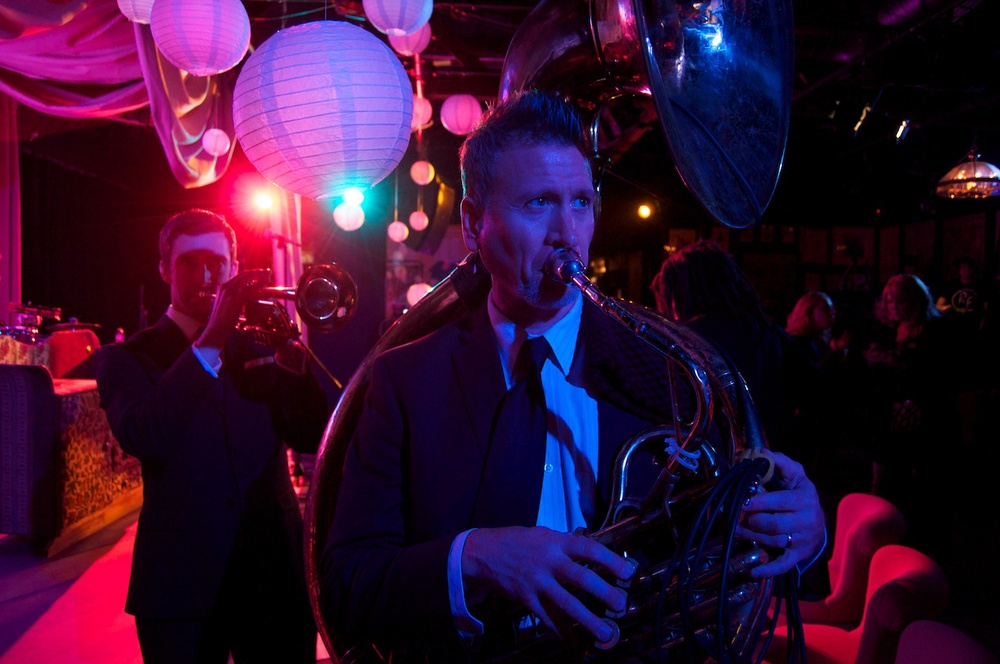 Marc Bolin and Mike Cottone head out to the street! The Mudbug Brass Band