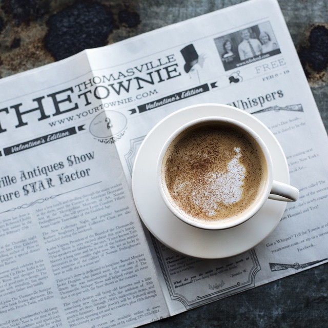 We love partnering with local businesses like the Thomasville Townie! Come pick up your copy and a cup of coffee!