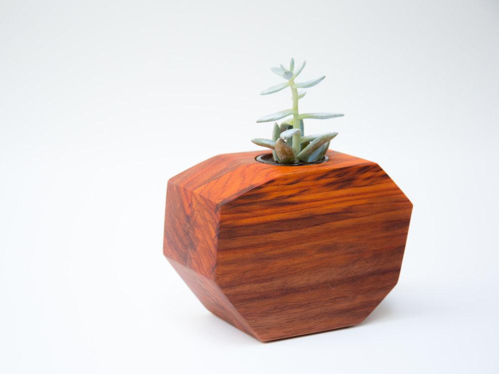 Walnut Octogon Planter