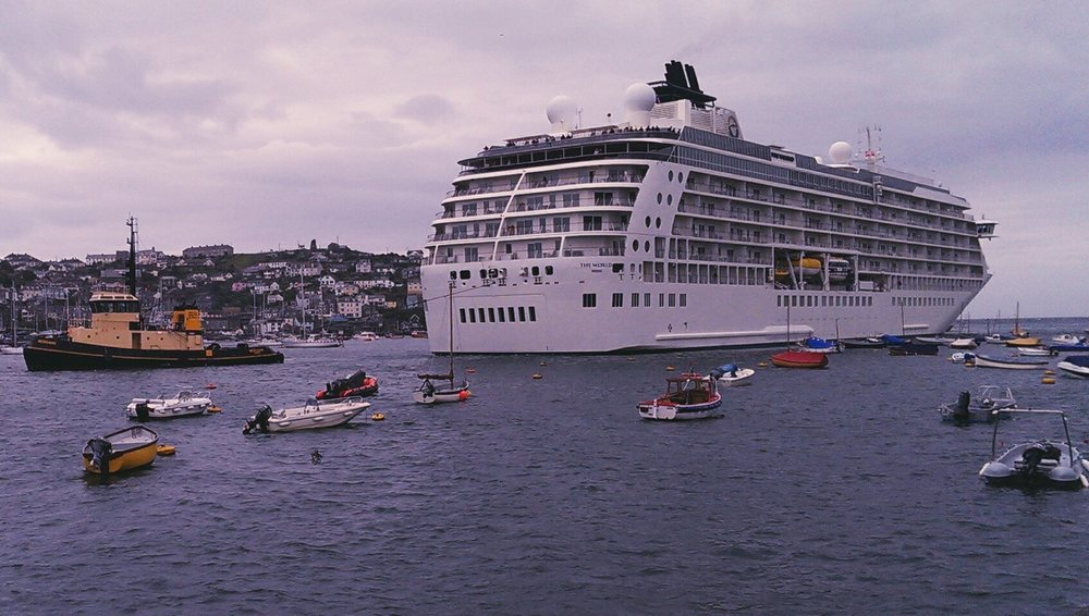 Fantastic sight as the 197m long luxury cruise ship  The World  arrives in Fowey today - so large they have to turn it around outside the harbour and bring it in backwards!  More information on this fantastic ship here: http://aboardtheworld.com/