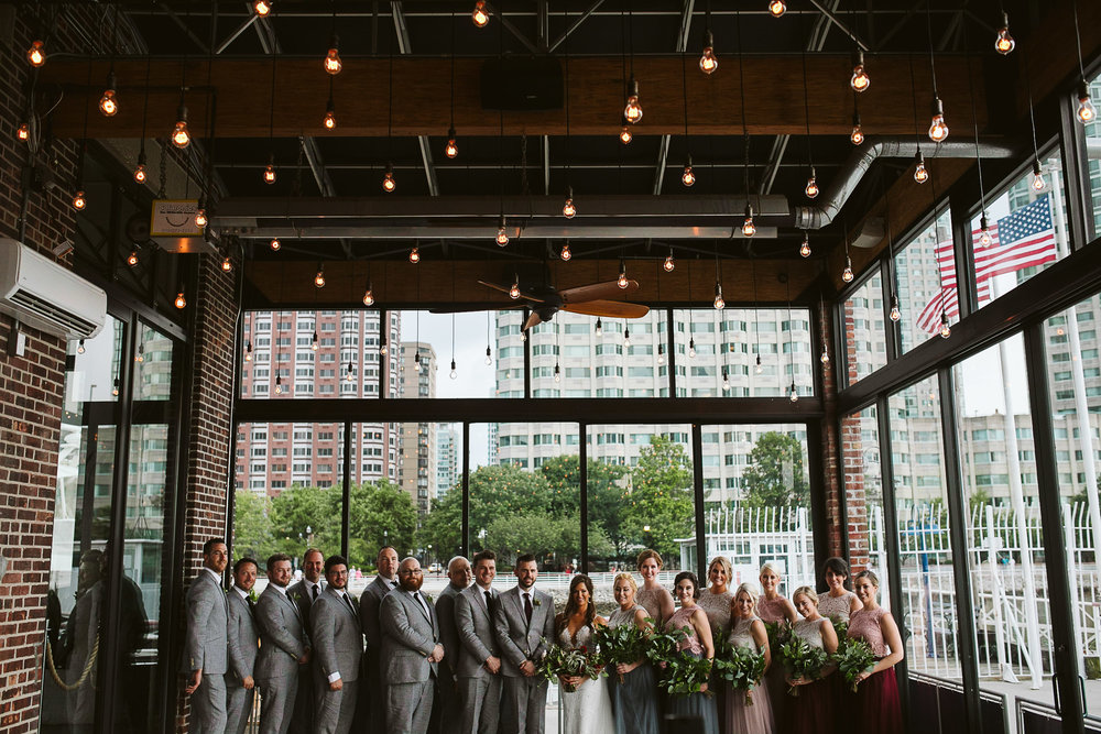 The bridal party in the venue at this Battello Wedding in Jersey City, NJ