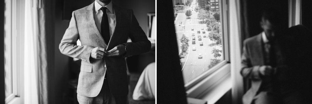 A black and white image of the groom getting ready at this Battello Wedding in Jersey City, NJ