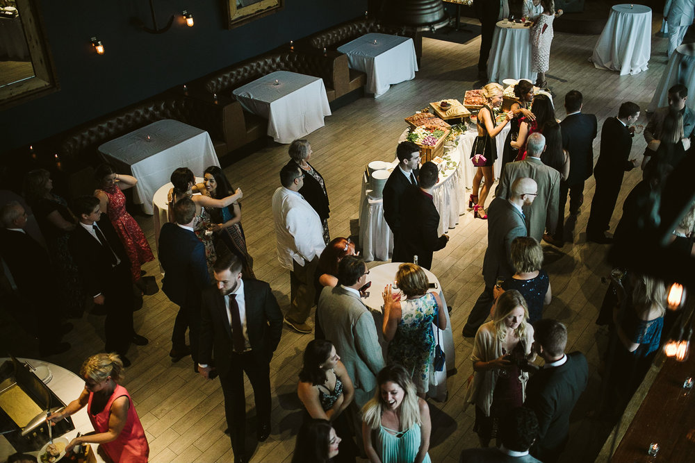 An overhead view of the reception at this Battello Wedding in Jersey City, NJ