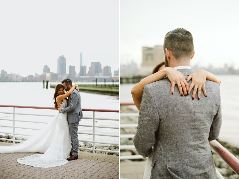The bride and groom portraits with NYC and the bay behind them at this Battello Wedding in Jersey City, NJ