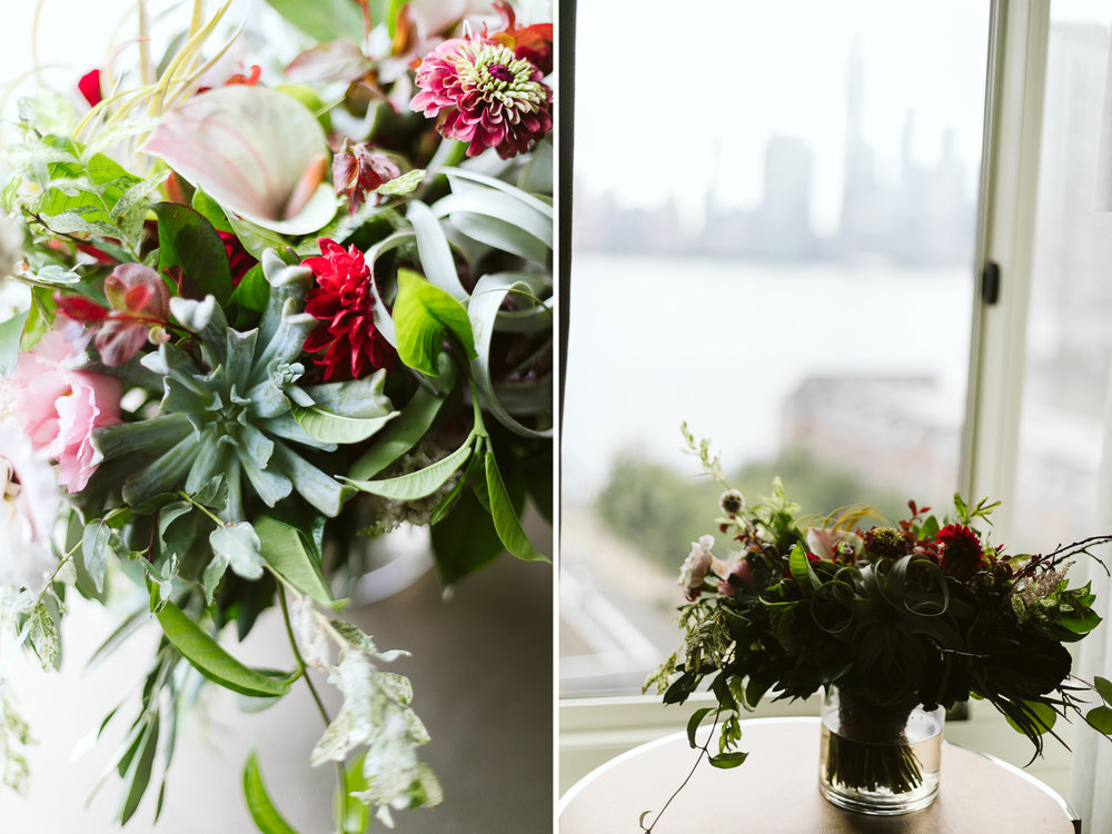 The red, green, and white bloom bouquet at this Battello Wedding in Jersey City, NJ