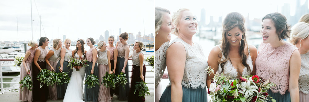 The bridesmaids and bride at the marina at this Battello Wedding in Jersey City, NJ