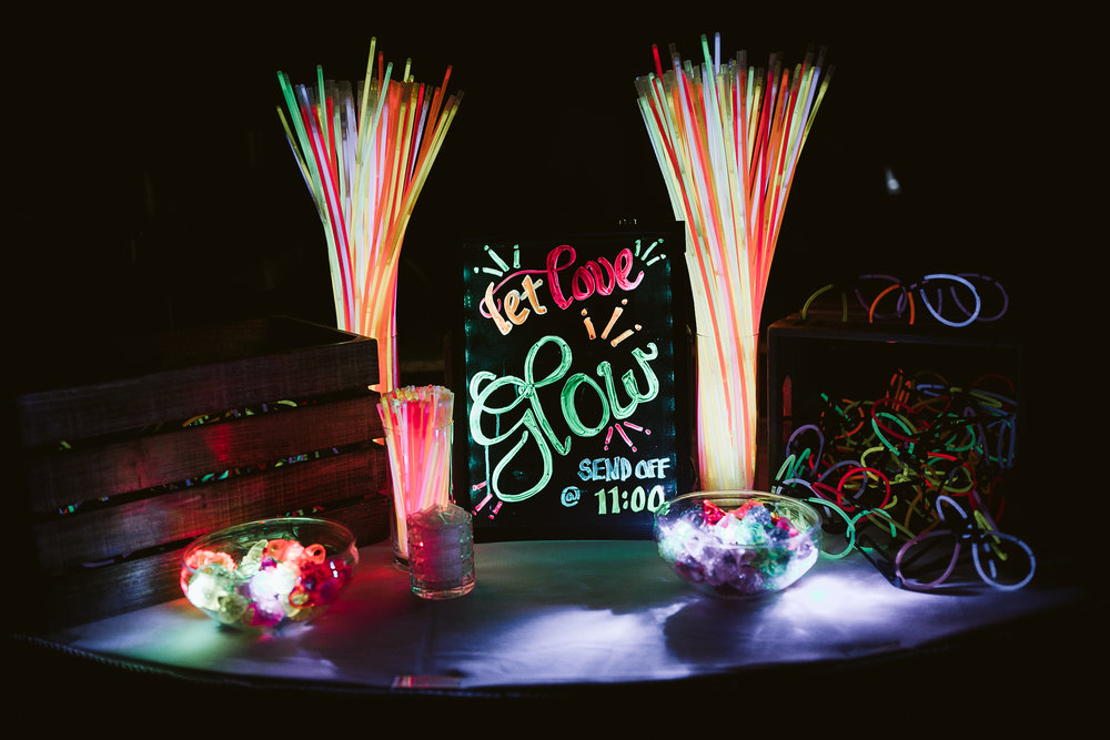 Reception details and glow sticks at this Battello Wedding in Jersey City, NJ