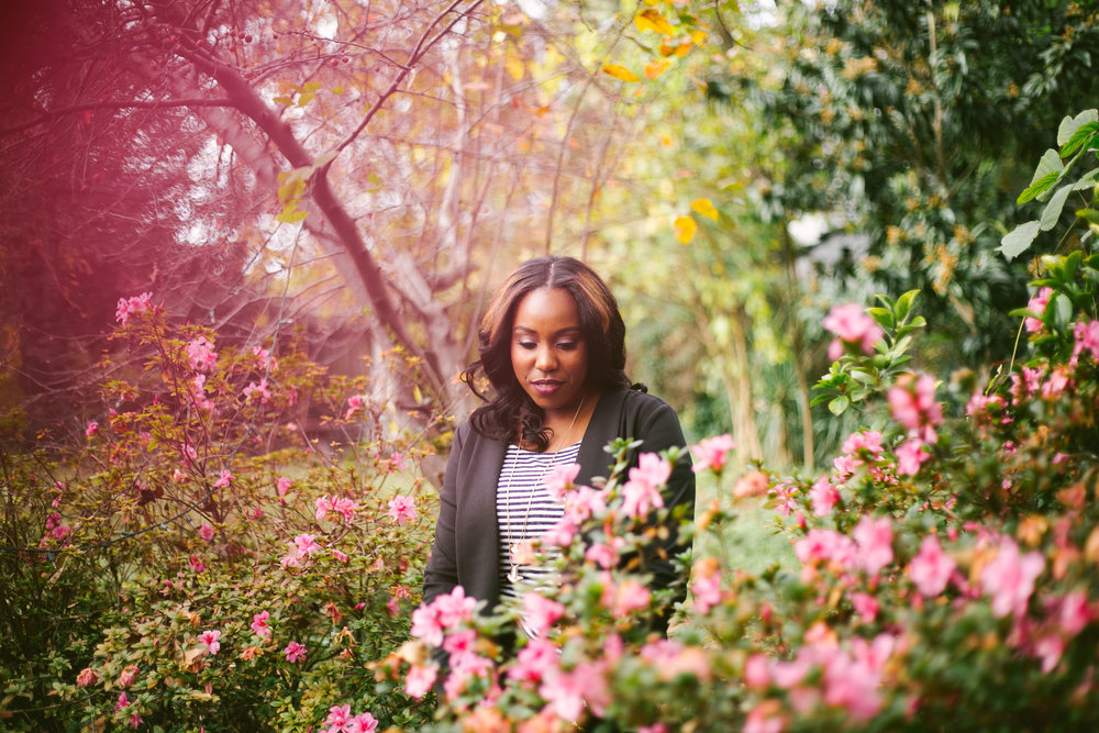 portrait among nature and pink flowers