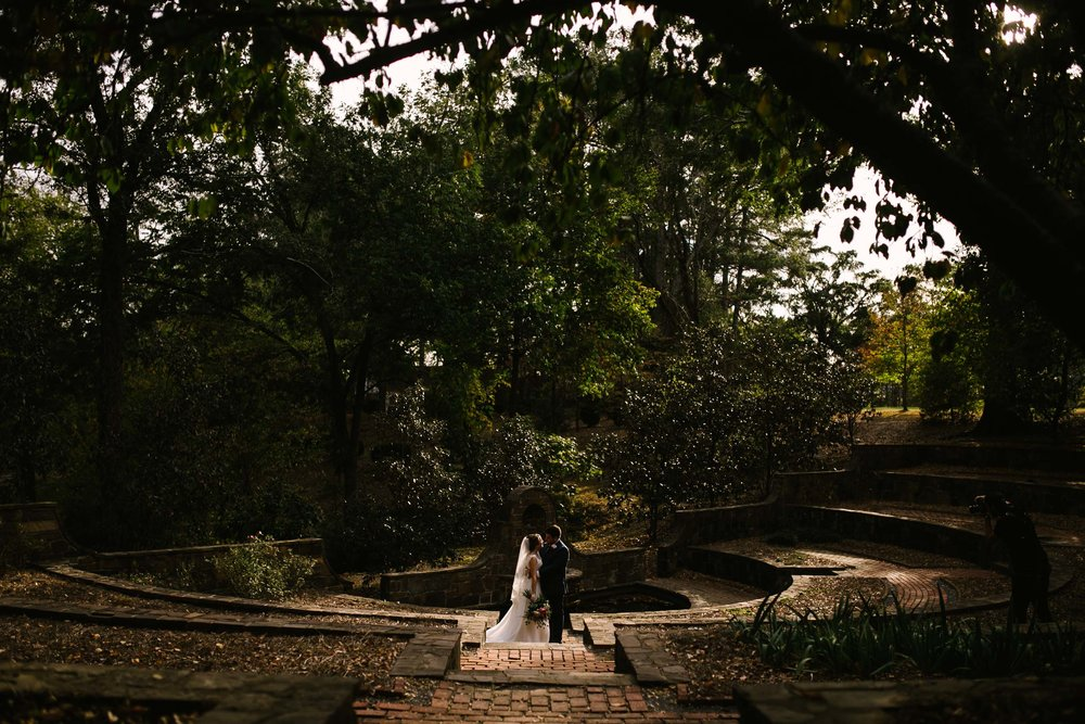 private moment with bride and groom in garden