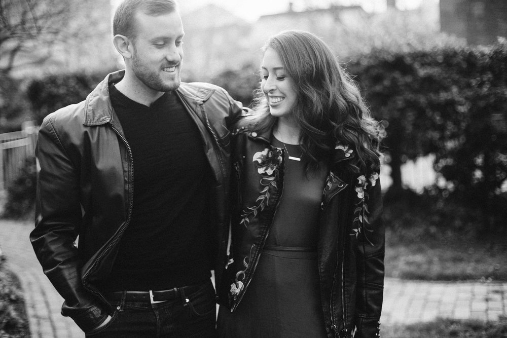 Black and white couple photo at this DC Area Engagement Shoot - Alexandria, VA