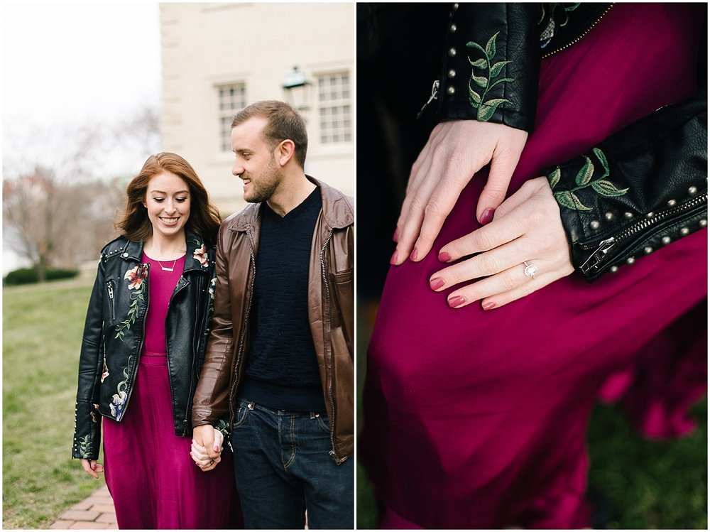 A leather jacket and maroon dress at this DC Area Engagement Shoot - Alexandria, VA