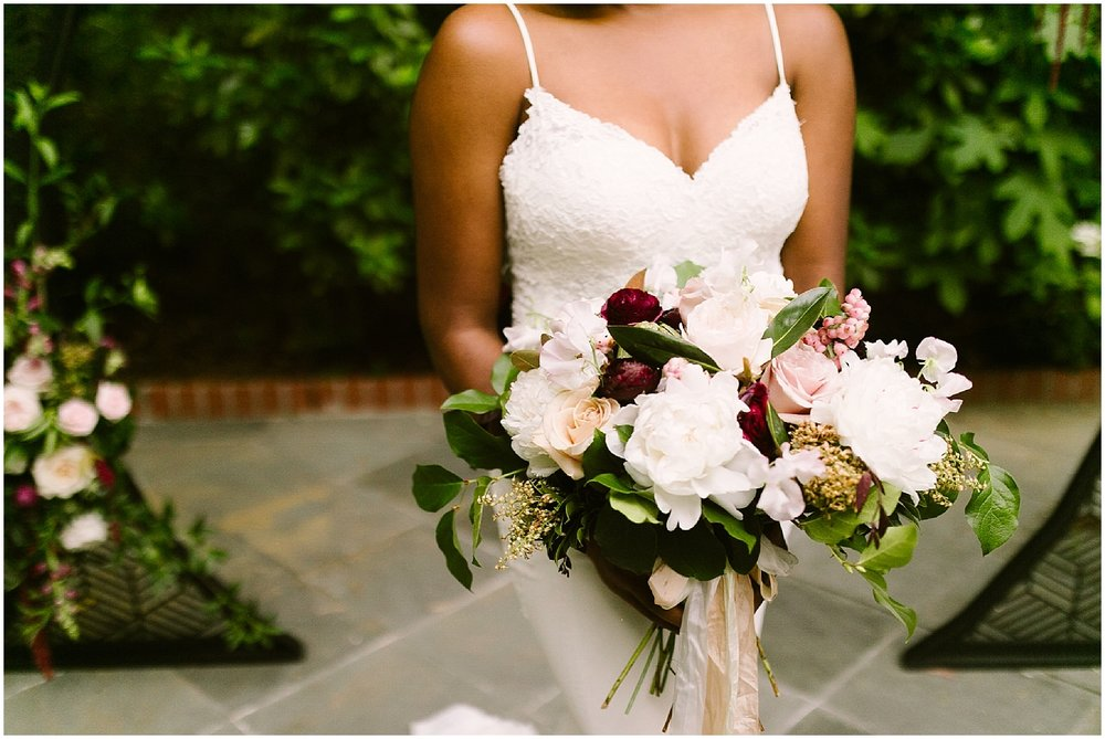 swan coach house blush and white bouquet