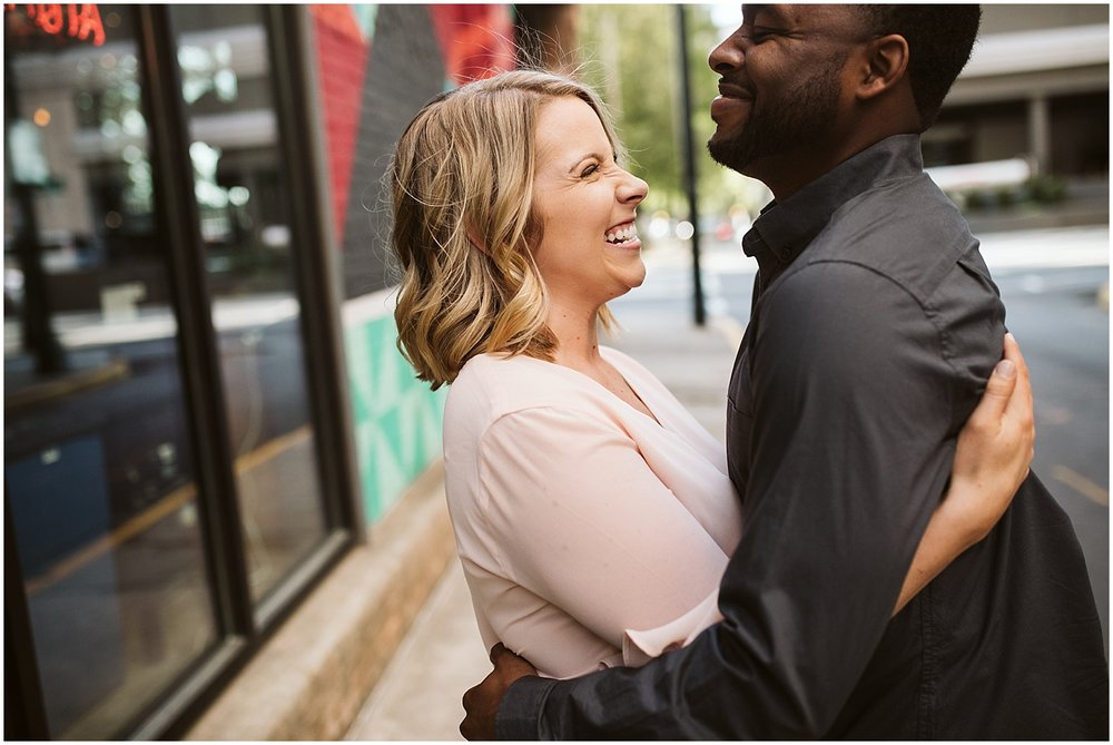 couple hugging in engagement session