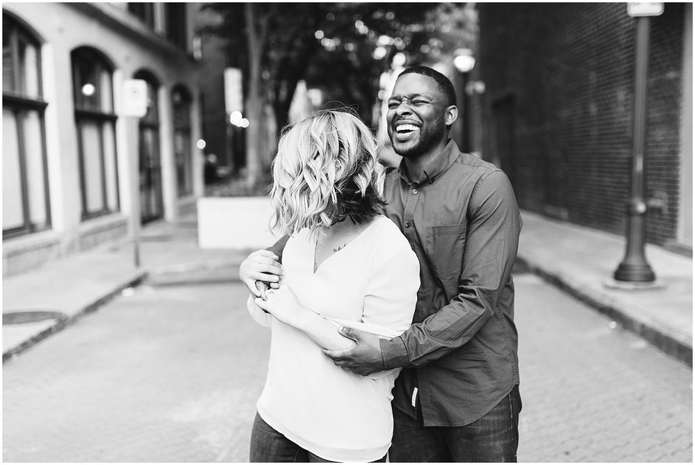 black and white downtown atlanta engagement shoot