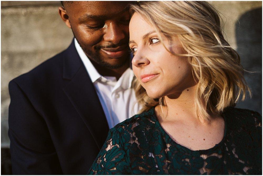 white bride black groom engagement shoot