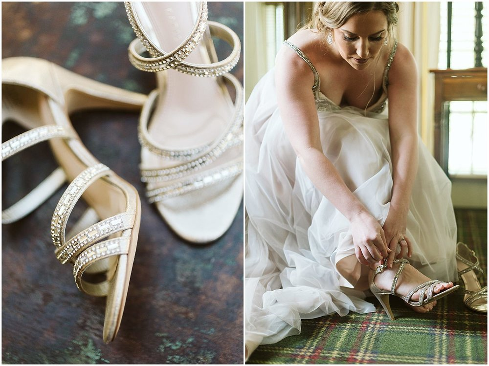 classic gold strappy wedding shoes